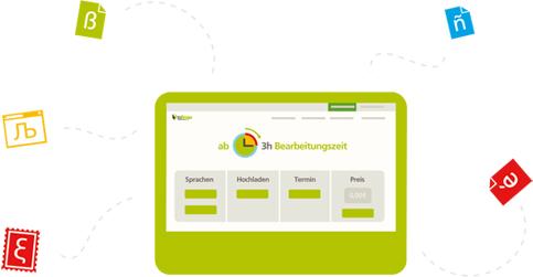 Grafik eines grünen Bildschirms der den tolingo Webshop darstellt